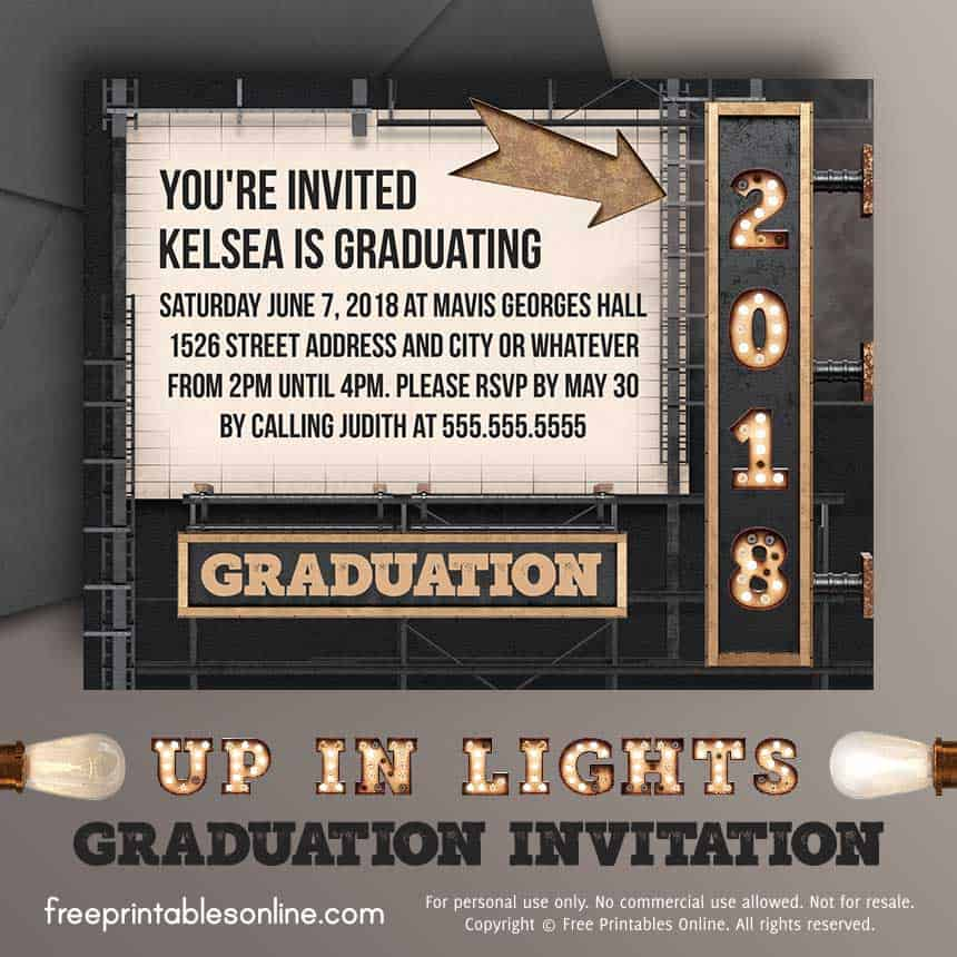 Printable Up In Lights 2018 Graduation Invitation