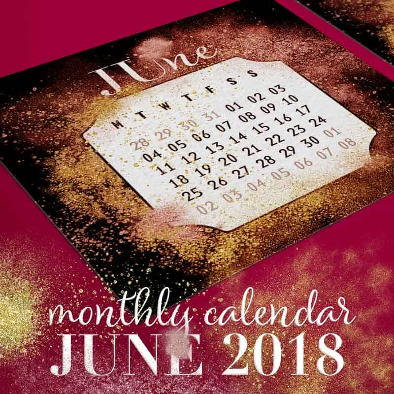 Gold & Red Dust Printable June 2018 Calendar