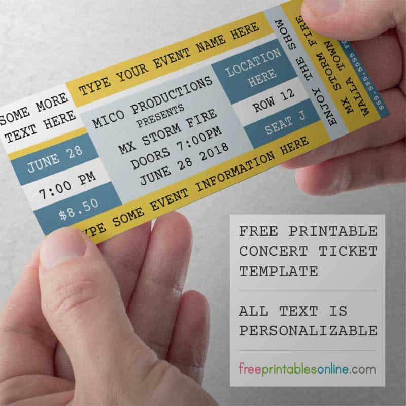 Accomplished image intended for concert ticket template free printable