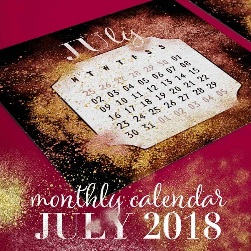 Gold & Red Dust Printable July 2018 Calendar