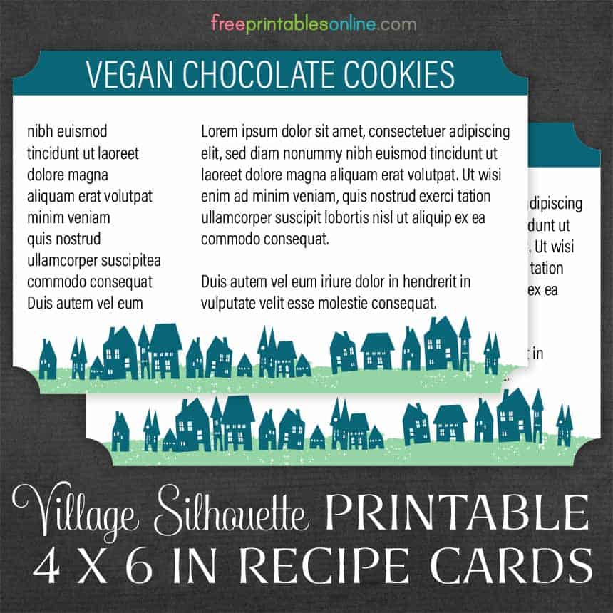Village Silhouette 4×6 Recipe Cards