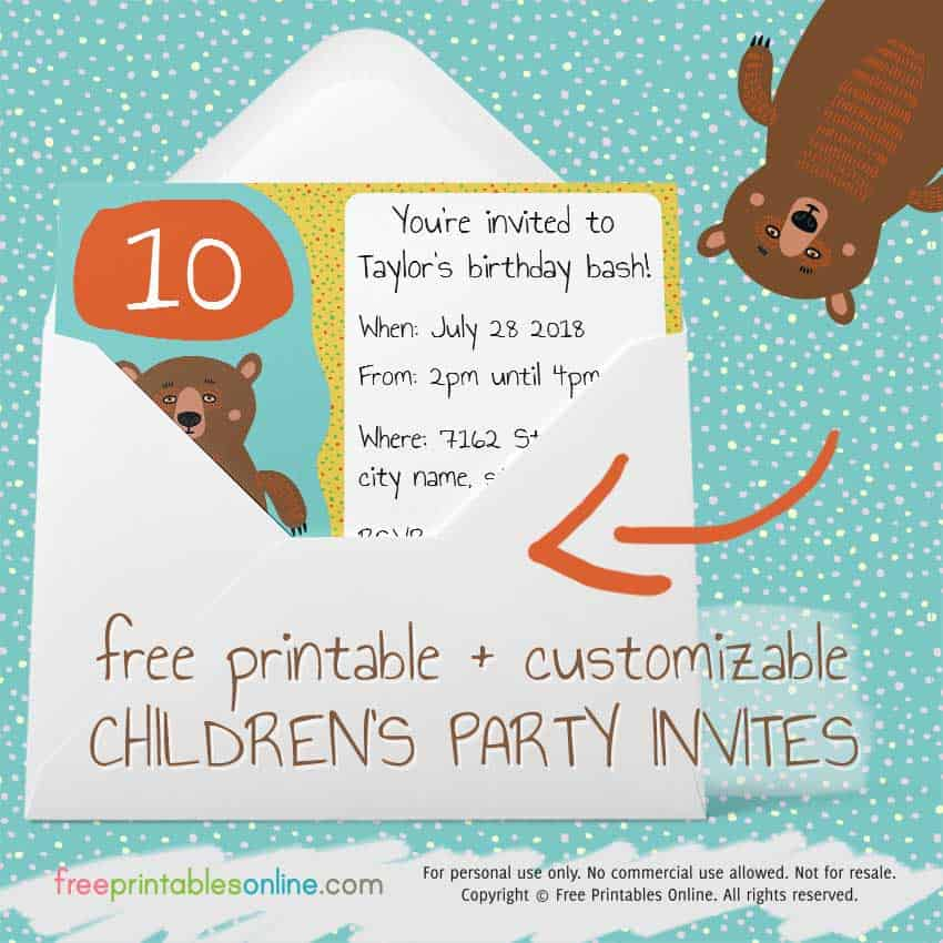 Free printable Children\'s party invites | Free Printables Online