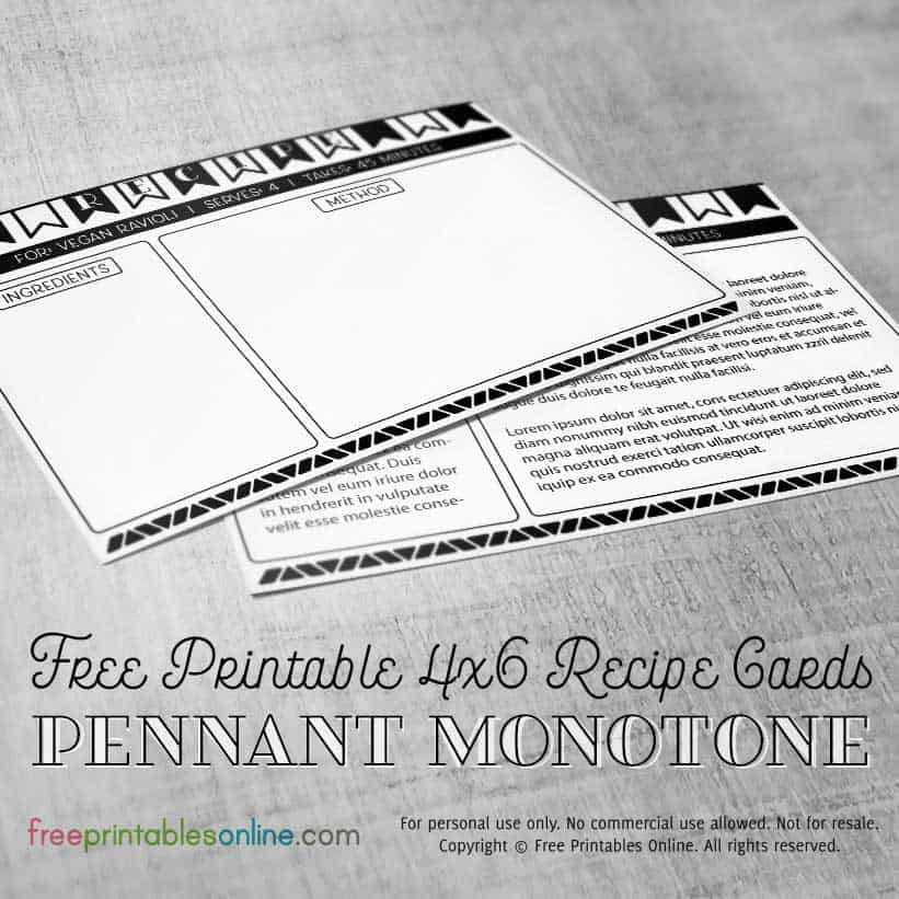 Pennant Monotone 4×6 Recipe Cards