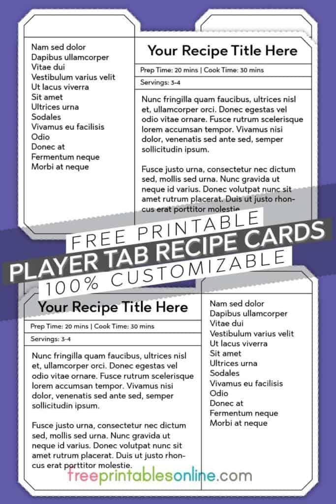 Player Tab Recipe Card templates