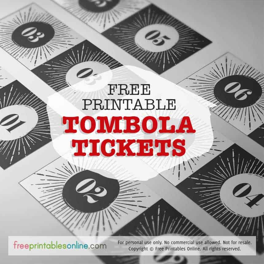 Free Retro Printable Tombola Tickets