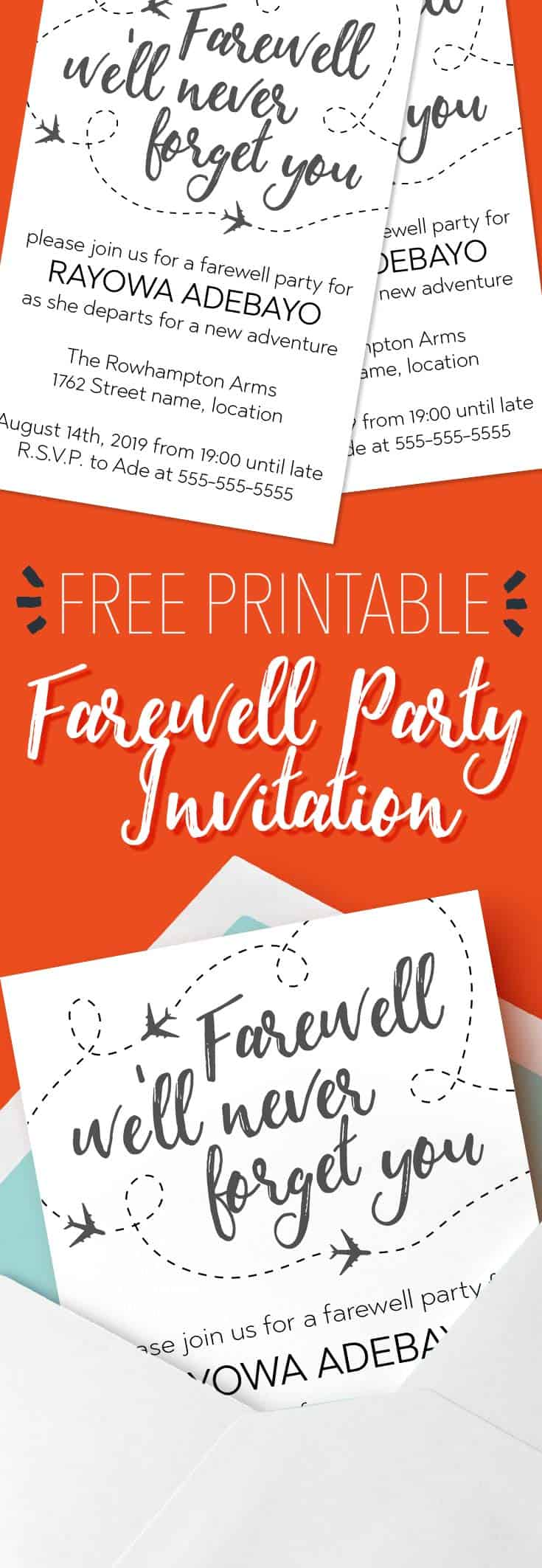 Modern Going Away Party Invite Wording Pattern - Invitations and ...