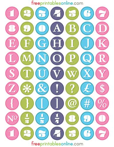 Colorful Alphabetic 1 inch round labels