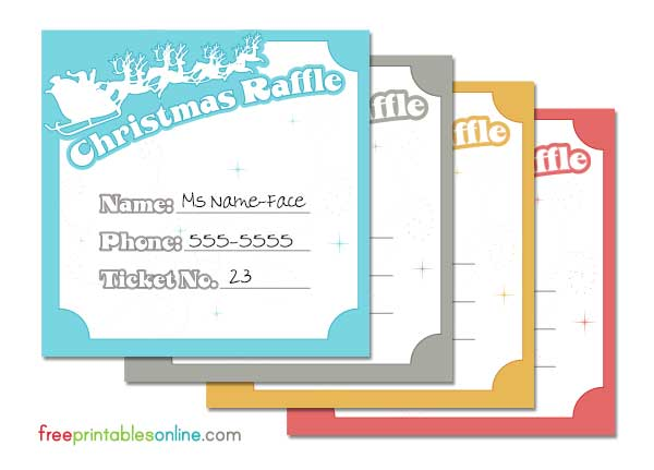 Christmas Raffle Ticket Template - Raffle ticket printing free template