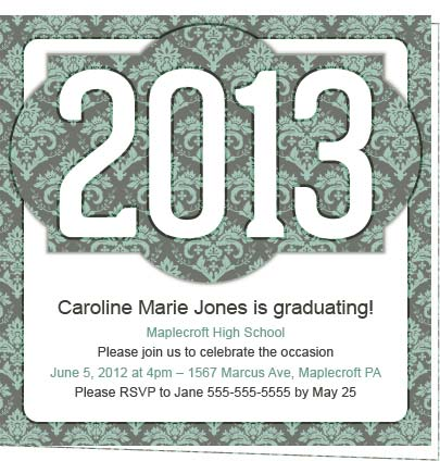 VIctorian 2013 Damask Invitations for Graduation