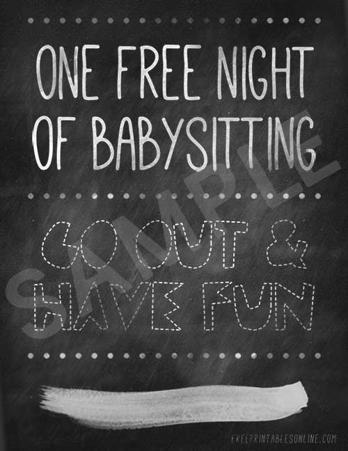 One Free Night of Babysitting Voucher