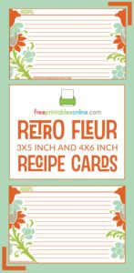 Retro Fleur Recipe Card Template Pinterest