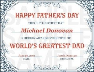 World's Greatest Dad Certificate