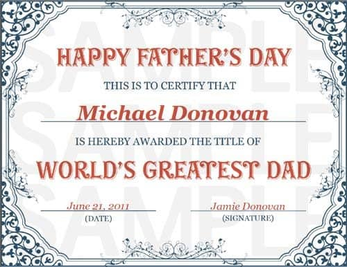 Free Printable World 39 s Greatest Dad Certificate