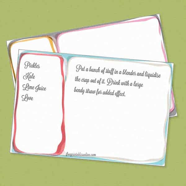 funky inked colourful 4x6 printable recipe cards