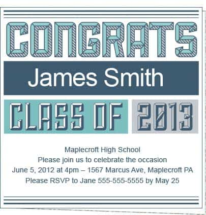 Collegiate blue 2013 unique graduation party invitations these free 2013 graduation party invitations feature a collegiate typeface in hues of blue large text across the top reads congrats in all capitals filmwisefo