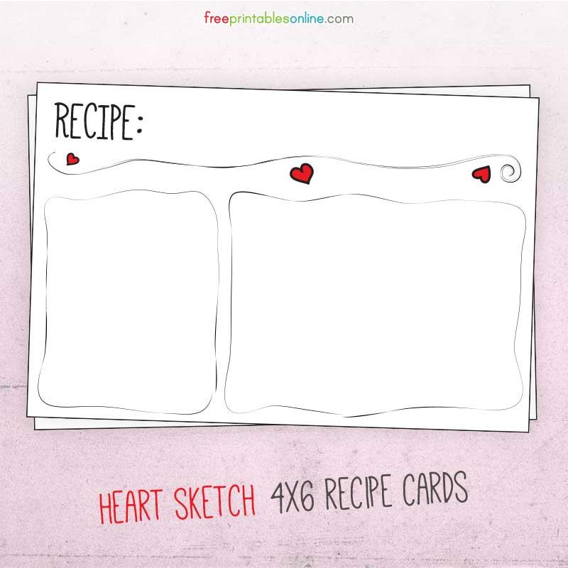 Heart Sketch 4x6 Recipe Cards