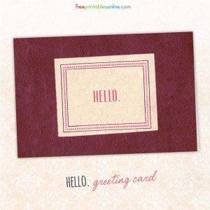 Blank Hello Greeting Card