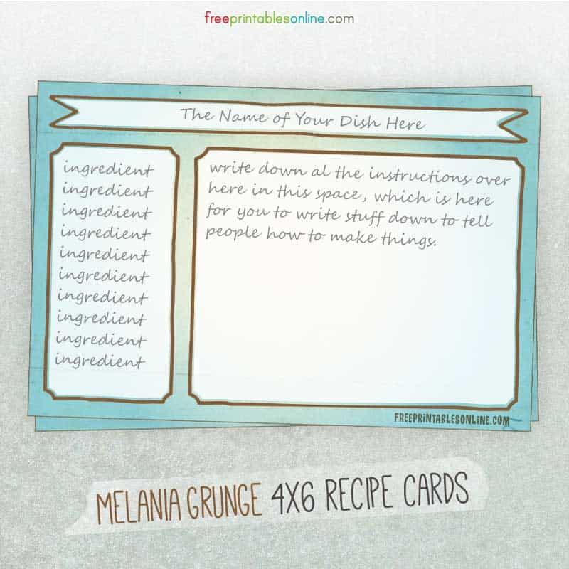Melania Grunge Recipe Cards
