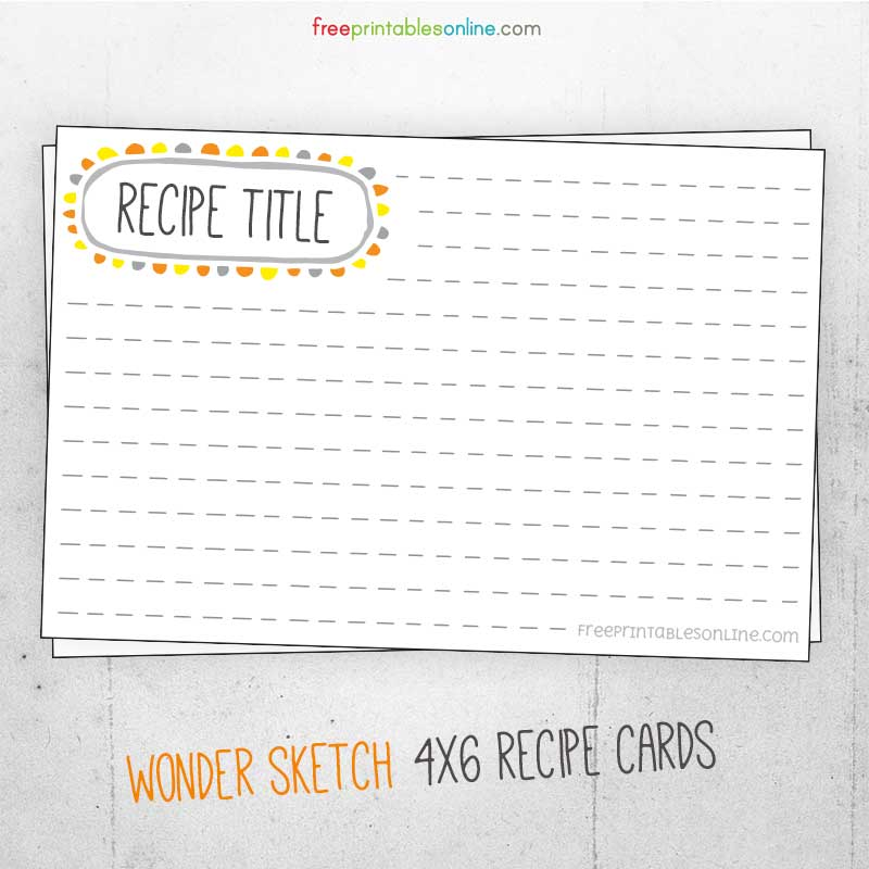 Wonder Sketch Cute Recipe Card for Free Download