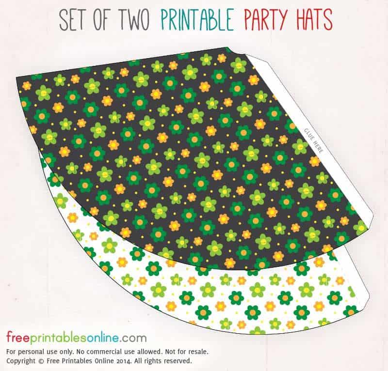 Retro 60s Printable Party Hats