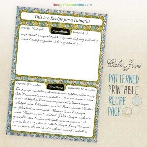 Cali Jive Printable Recipe Pages