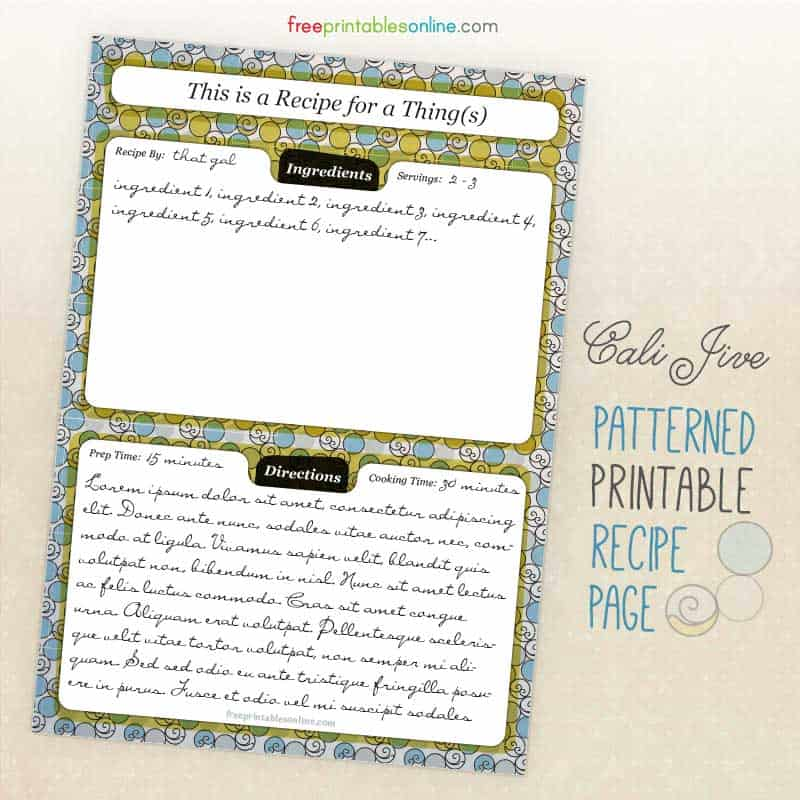 stylish so cal inspired recipe page to download free printables online