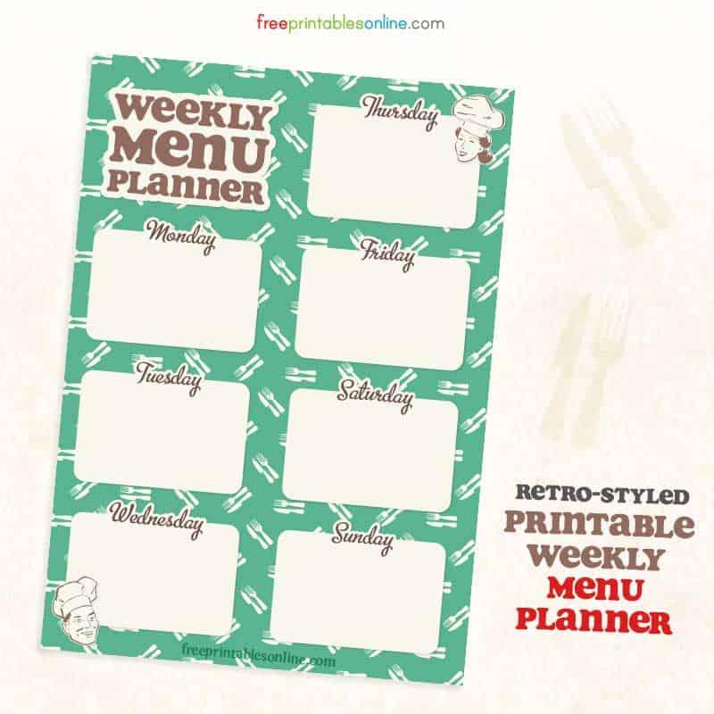 easy free printable weekly meal planner