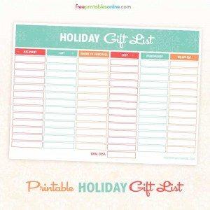printable holiday gift and shopping list