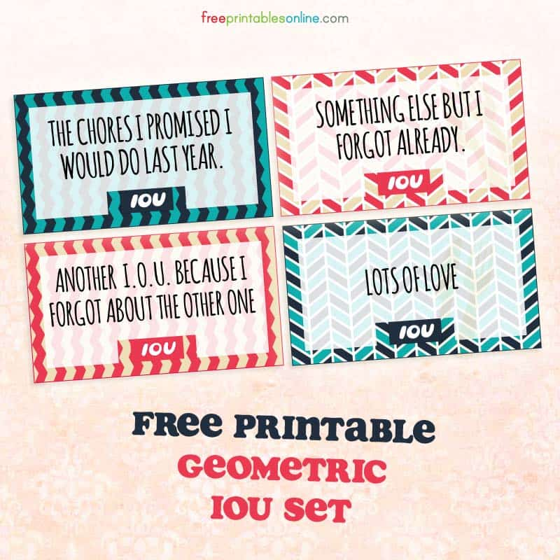 Geometric Printable IOU Coupons To Download