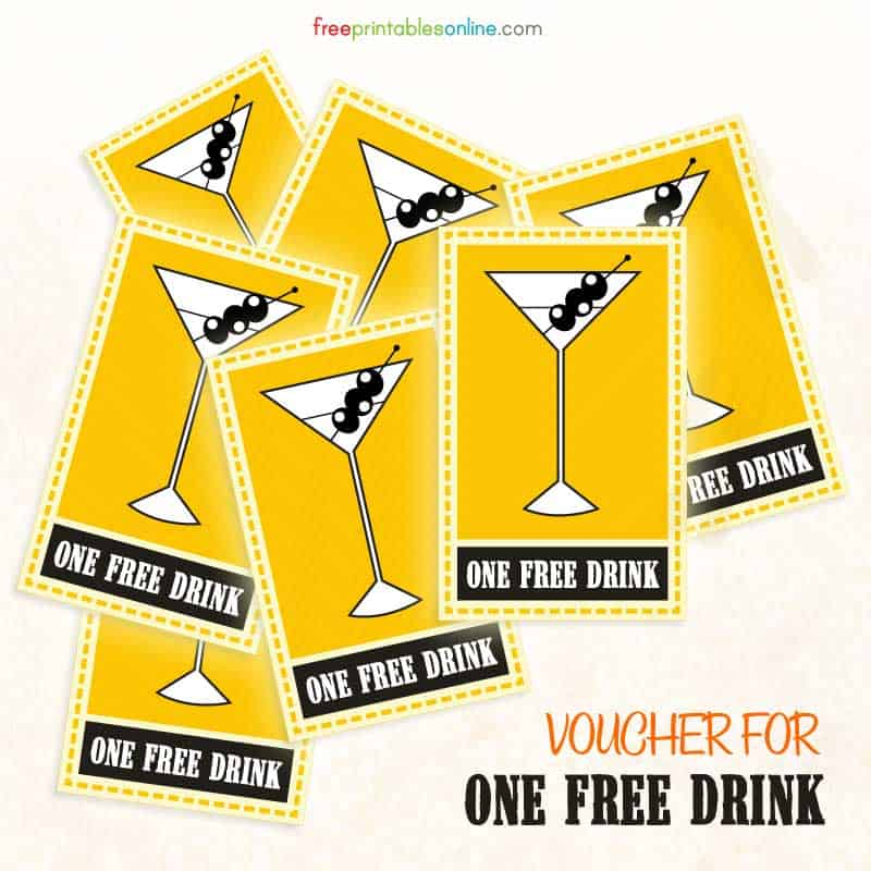 free printable drink voucher free printables online