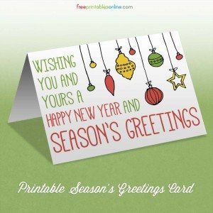 happy new year and seasons greetings card