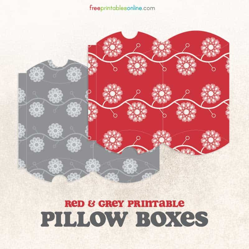 Printable Red and Grey Patterned Pillow Boxes