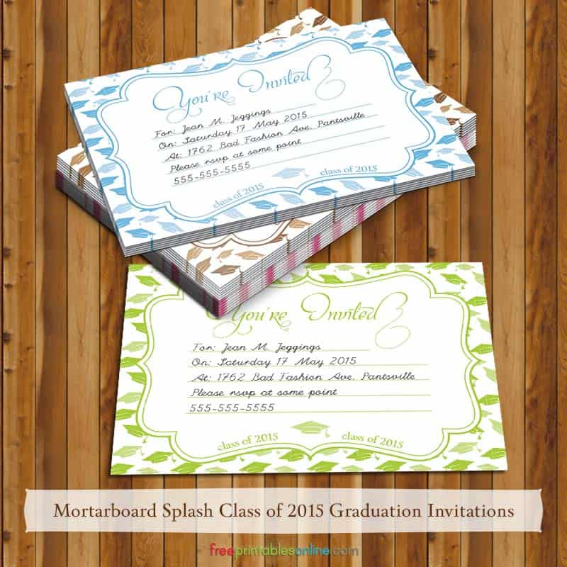 Download Mortarboard Splash 2015 Graduation Invites