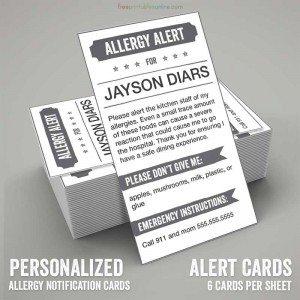 printable allergy alert card