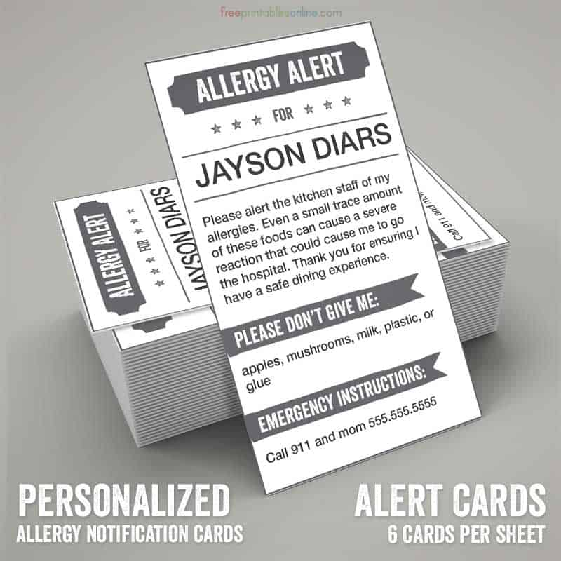 It's just a picture of Printable Allergy Cards inside spanish