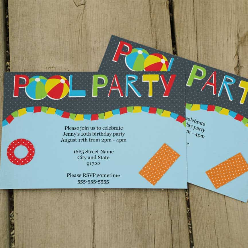 Cool Pool Party Invitations