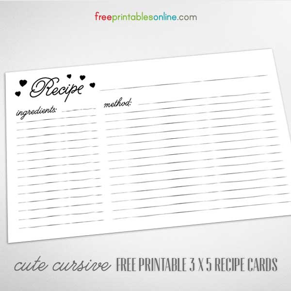 free cute cursive 3 x 5 recipe cards to print. Black Bedroom Furniture Sets. Home Design Ideas