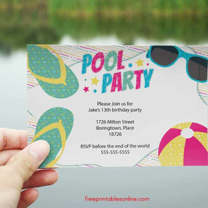 free printable swimming pool party invitations