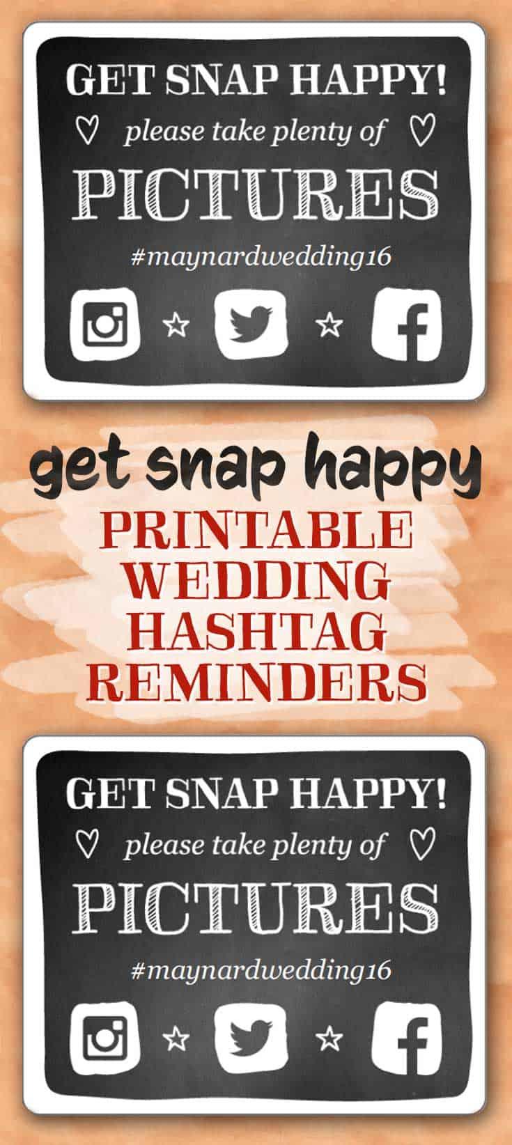 Calendar Cards Printables : Get snap happy wedding hashtag reminders free printables