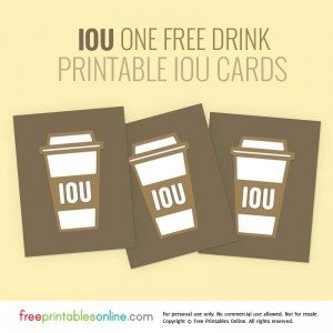 Printable IOU Vouchers