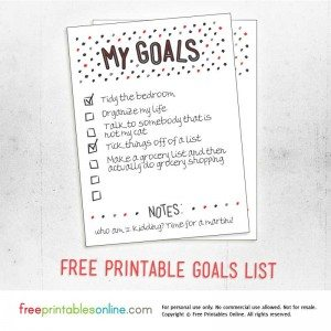 My Goals Printable to do list