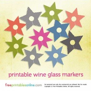 Printable wine glass markers