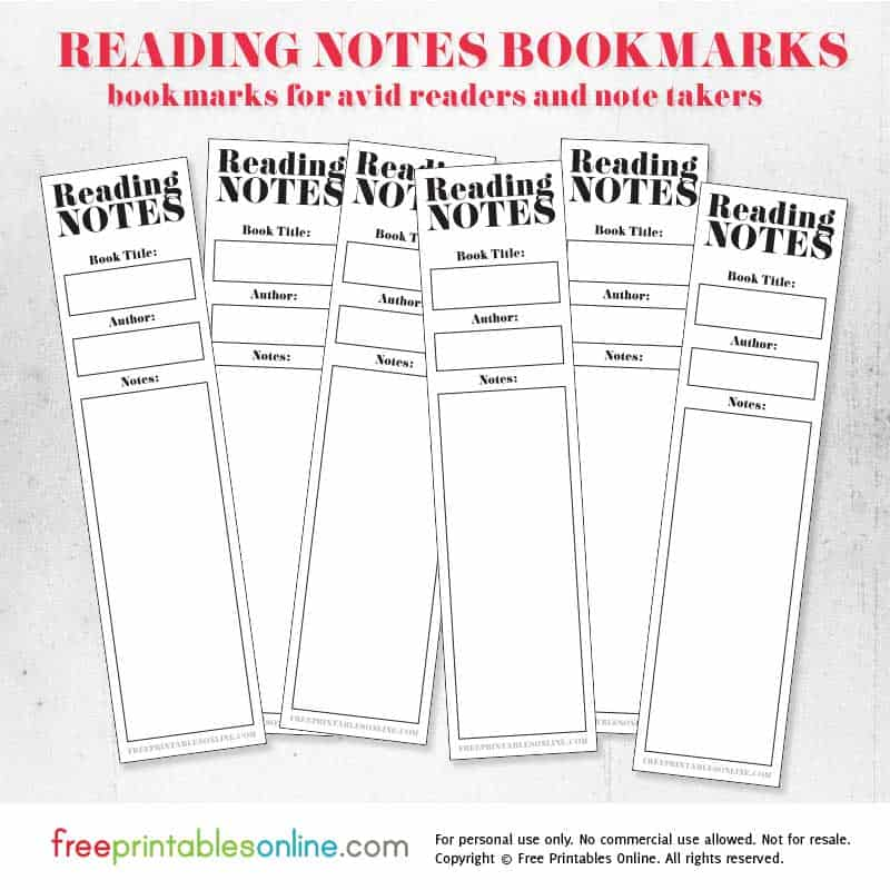 reading notes bookmarks to print