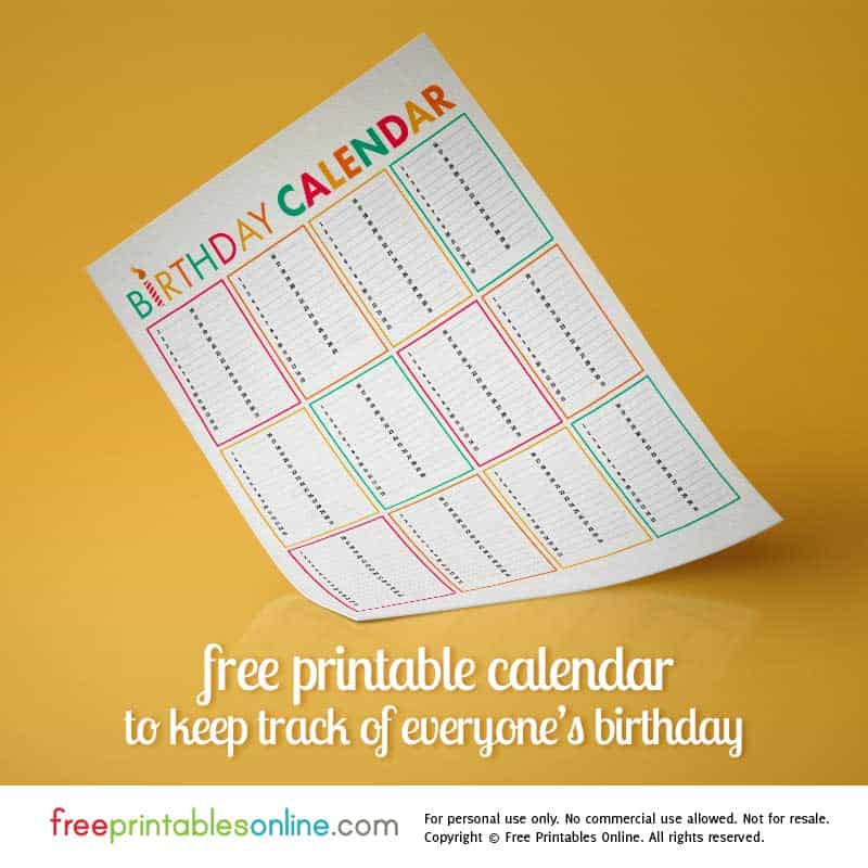 colorful birthday calendar printable free printables online