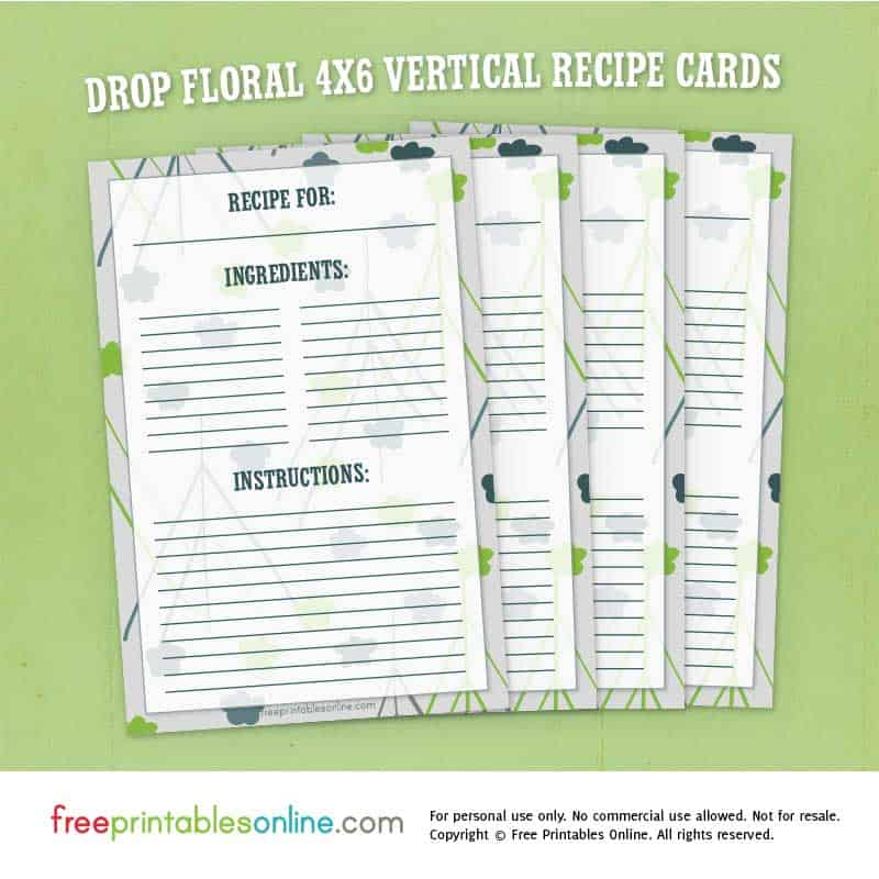 4x6 Vertical Recipe Cards