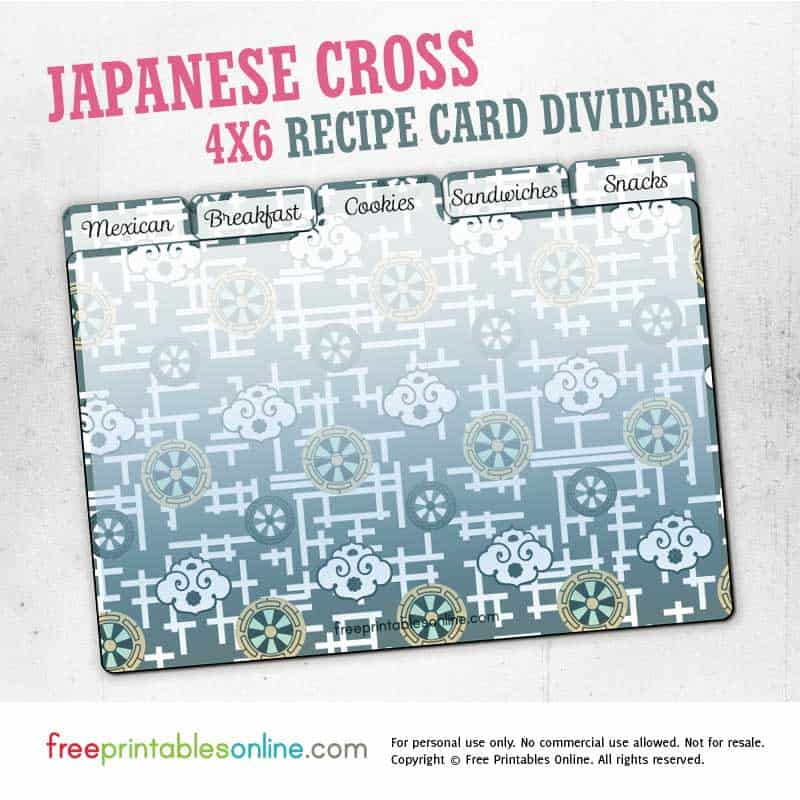 Japanese Cross Printable 4x6 Recipe Card Dividers