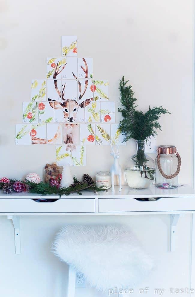 Printable Watercolor Deer Advent Calendar