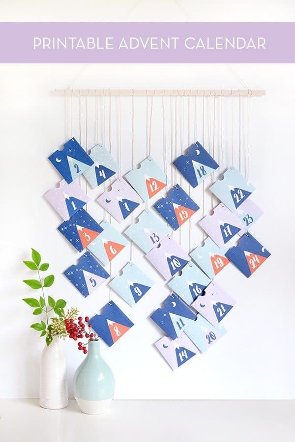 Mountains printable advent calendar