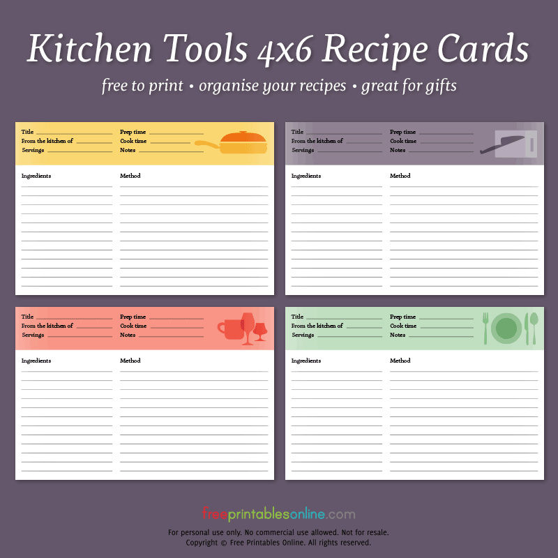 Kitchen Tools Printable 4x6 Recipe Cards Free Printables Online