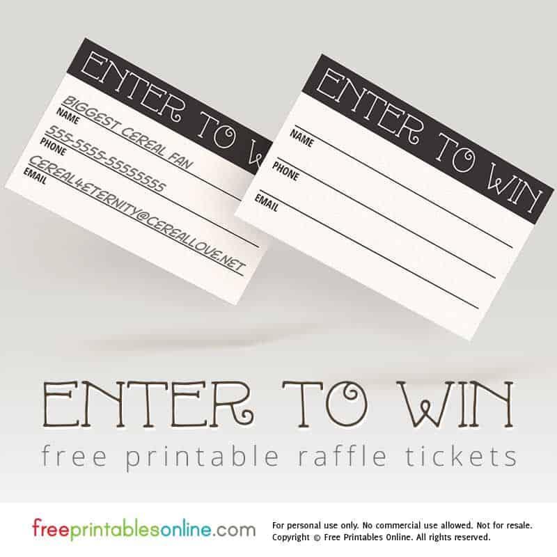 Enter To Win Printable Raffle Tickets Free Printables Online